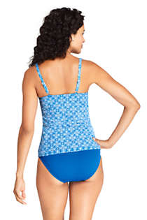 Women's Square Neck Underwire Tankini Top Swimsuit Adjustable Straps Print, Back