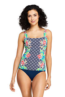 Women's Square Neck Underwire Tankini Top Swimsuit Adjustable Straps Print, Front
