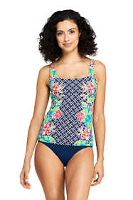 Women's Mastectomy Square Neck Tankini Top Swimsuit Print