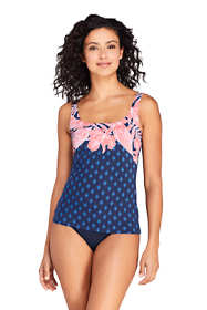 Women's DD-Cup Square Neck Underwire Tankini Top Swimsuit Adjustable Straps Print