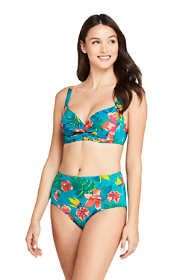 Women's Twist Front V-Neck Underwire Bikini Top Swimsuit with Adjustable Straps Print