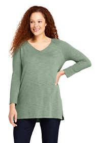 Women's Plus Size Slub 3/4 Sleeve V-neck Tunic Sweater