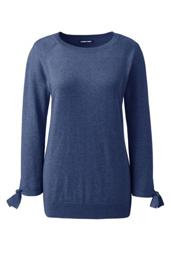 Pull Coton et Cachemire Manches Nouées, Femme Stature Standard