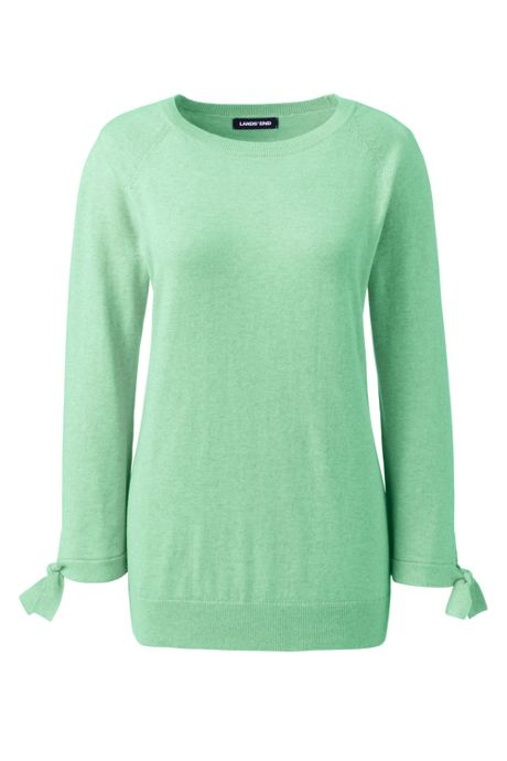 Women's Plus Size 3/4 Sleeve Cotton-Cashmere Ballet Neck Sweater
