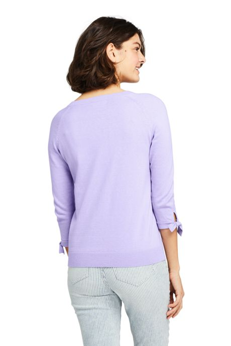 Women's Tall 3/4 Sleeve Cotton-Cashmere Ballet Neck Sweater