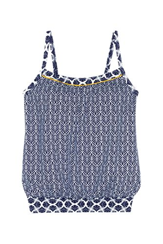 Women's Blouson Tankini Top Swimsuit Print