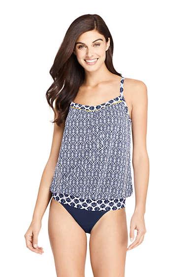 02348752388 Women s Blouson Tankini Top Swimsuit Print from Lands  End