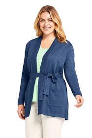 Women's Plus Size Long Sleeve Cotton-Cashmere Open Tie Cardigan Sweater