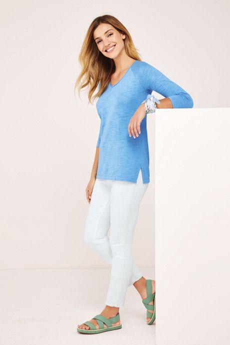 Women's Slub 3/4 Sleeve V-neck Tunic Sweater