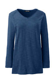 Women's Slub 3/4 Sleeve V-neck Tunic Sweater