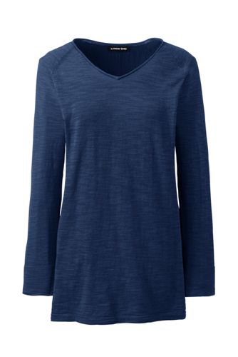 Women's Plus Raglan Sleeve V-neck Slub Tunic