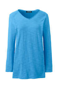 Women's Plus Size Slub 3/4 Sleeve V-neck Tunic Sweater