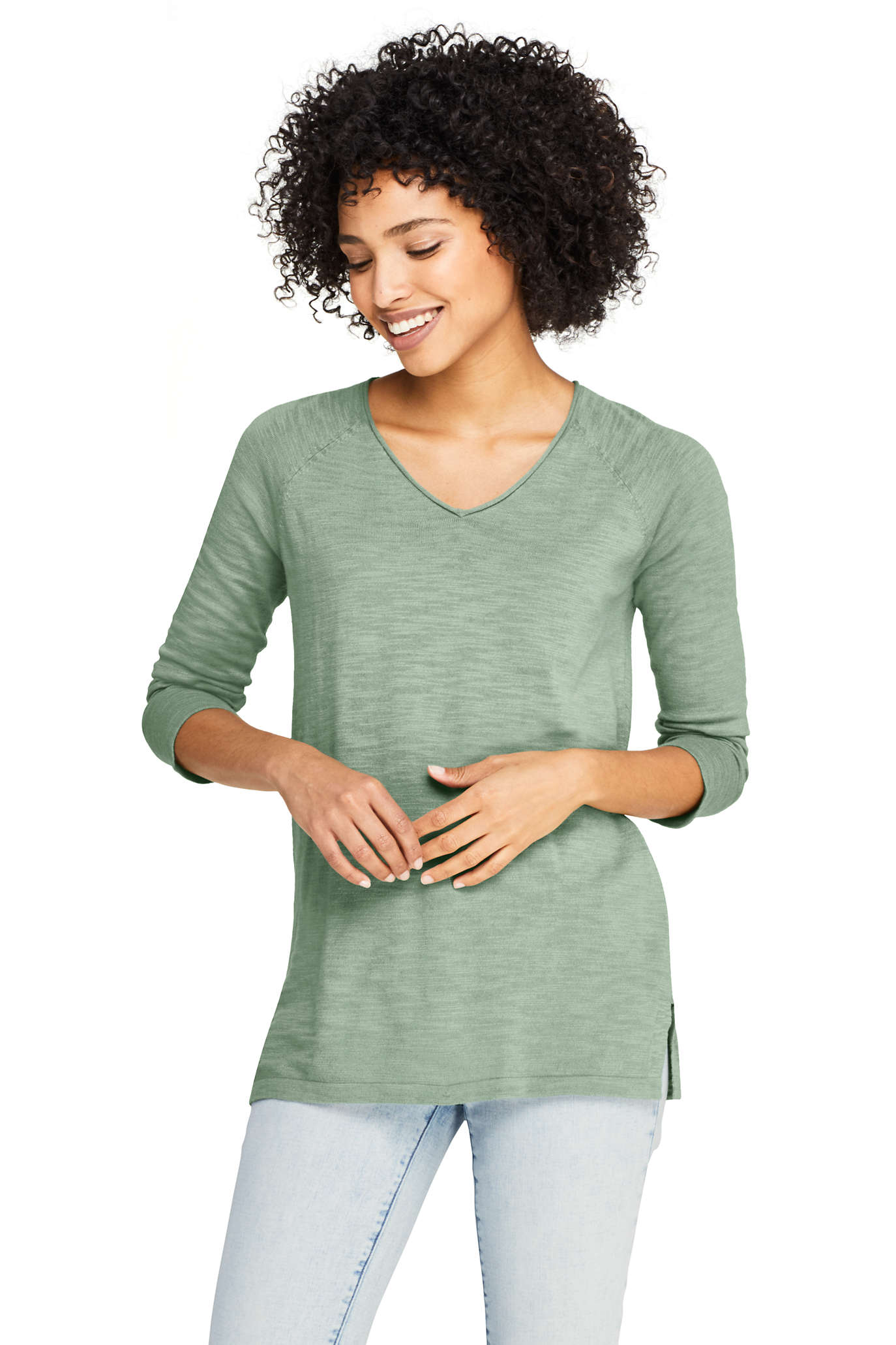 Women's Cotton Drifter V-neck Sweater - Stripe