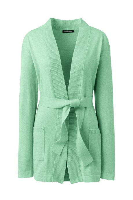 Women's Tall Long Sleeve Cotton-Cashmere Open Tie Cardigan Sweater