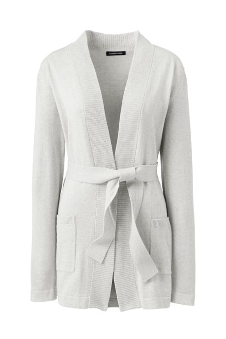 Women's Plus Size Long Sleeve Cotton-Cashmere Open Tie Cardigan Sweater