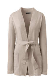 Women's Petite Long Sleeve Cotton-Cashmere Open Tie Cardigan Sweater