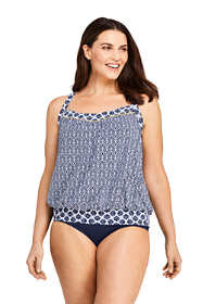Women's Plus Size DDD-Cup Blouson Tankini Top Swimsuit Print