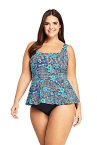 0ca2fa0a737fc Women s Plus Size Square Neck Peplum Underwire Tankini Top Swimsuit Print