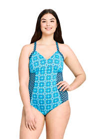 Women's Plus Size V-neck One Piece Swimsuit Print
