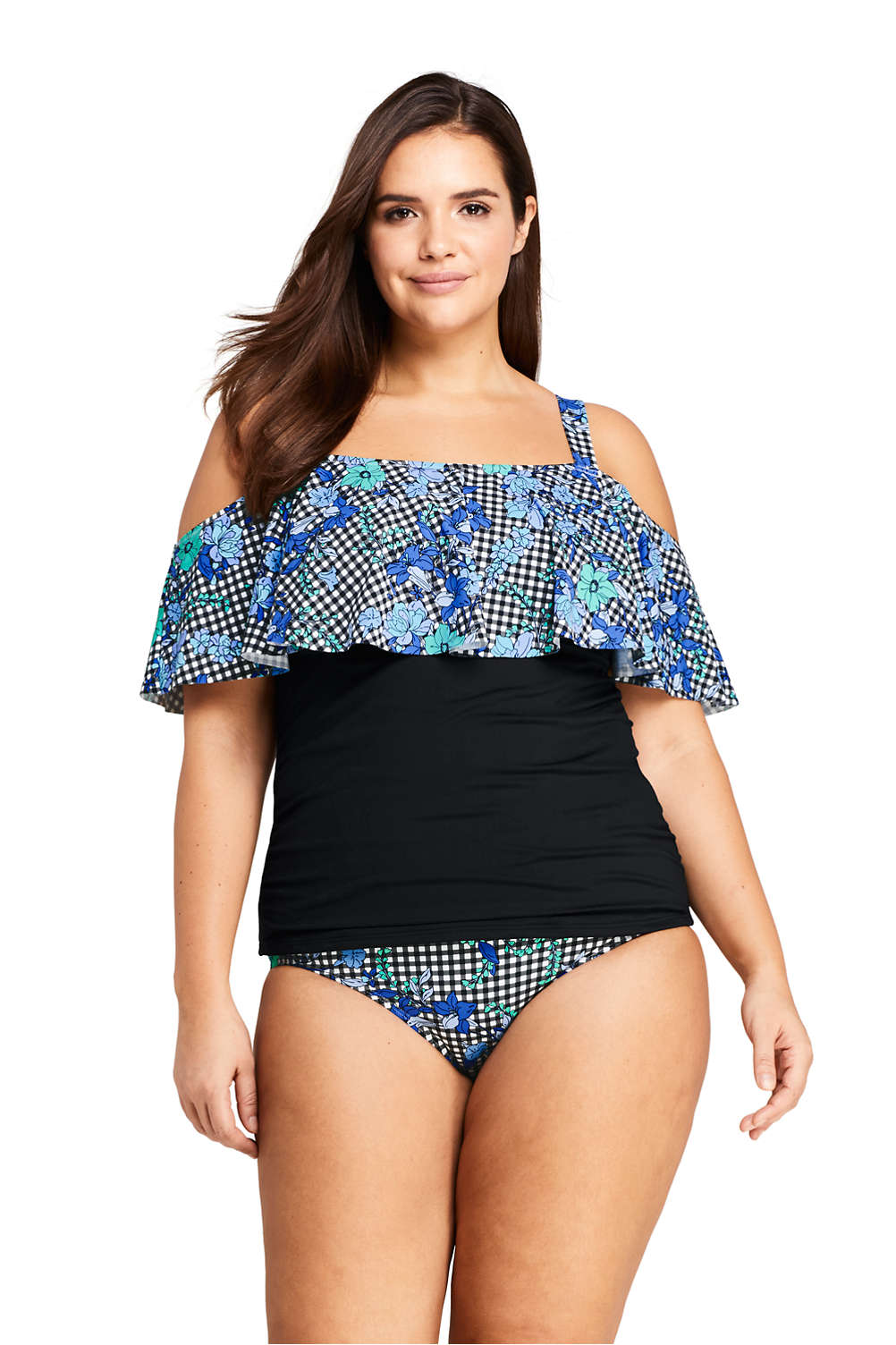 2b5af0ca0d5bd Women's Plus Size Off-the-Shoulder Tankini Top Swimsuit Print from Lands'  End