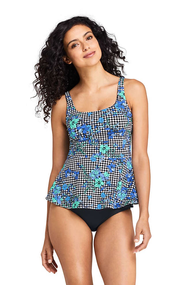 Women's Square Neck Peplum Underwire Tankini Top Swimsuit Print, Front