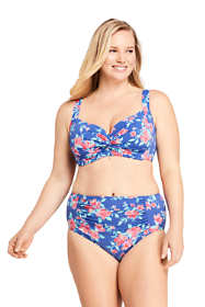 Women's Plus Size DD-Cup Twist Front Underwire Bikini Top Swimsuit Print