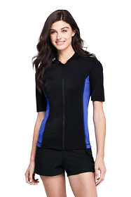 Women's Petite Half Sleeve Full Zip Rash Guard