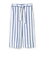 Women's Striped Tie Waist Stretch Linen Mix Crop Trousers