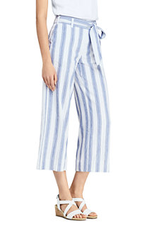 Women's Striped Tie Waist Stretch Linen Mix Crop Trousers