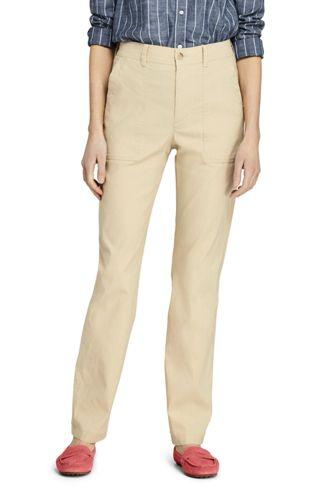 Pantalon en Lin Stretch Taille Haute, Femme Stature Petite