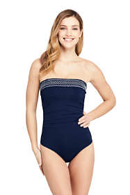 Women's Long Smocked Bandeau One Piece Swimsuit