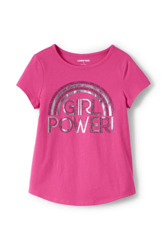 Little Girls' Dipped Hem T-shirt With Glitter Graphic