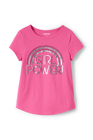 5bb747f3ac95 Girls' Dipped Hem T-shirt With Glitter Graphic | Lands' End