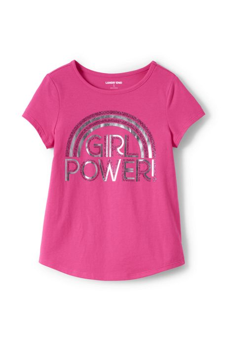 Little Girls Foil Curved Hem Graphic Tee Shirt