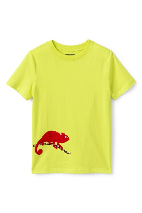 Little Boys Flip Sequin Graphic Tee Shirt