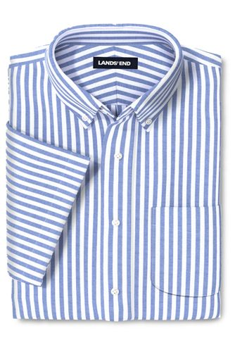 Men's Patterned Stretch Short Sleeve Oxford Shirt