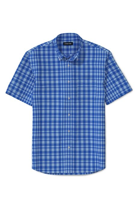 Men's Tall Short Sleeve Traditional Fit Essential Lightweight Poplin Shirt