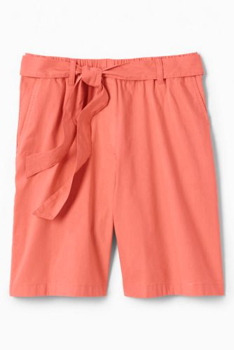 Women's Tie Waist Stretch Linen Mix Shorts