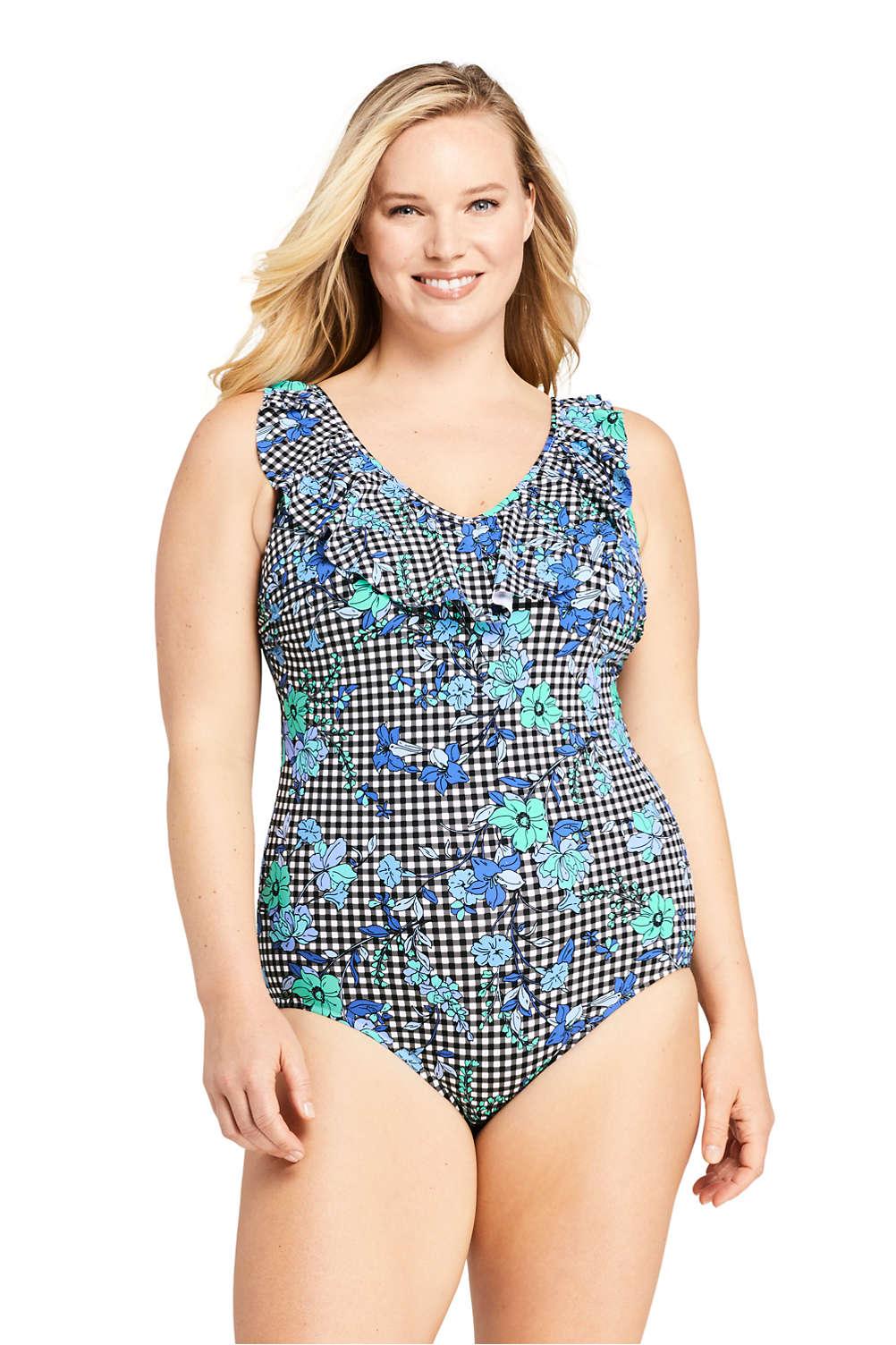 32cc4783124de Women s Plus Size Ruffle V-neck One Piece Swimsuit Print from Lands  End