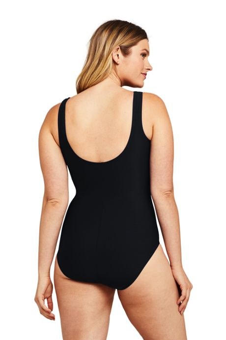 Women's Slender Tummy Control Chlorine Resistant High Neck Modest One Piece Swimsuit