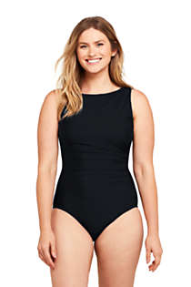 Women's D-Cup Slender Tummy Control Chlorine Resistant High Neck Modest One Piece Swimsuit, Front