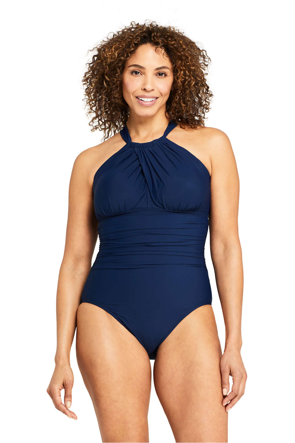 3a0d2a7dcb0 Women's Slender Keyhole High-neck One Piece Swimsuit with Tummy Control  from Lands' End