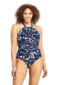 Women's Slender Keyhole High-neck One Piece Swimsuit with Tummy Control Print