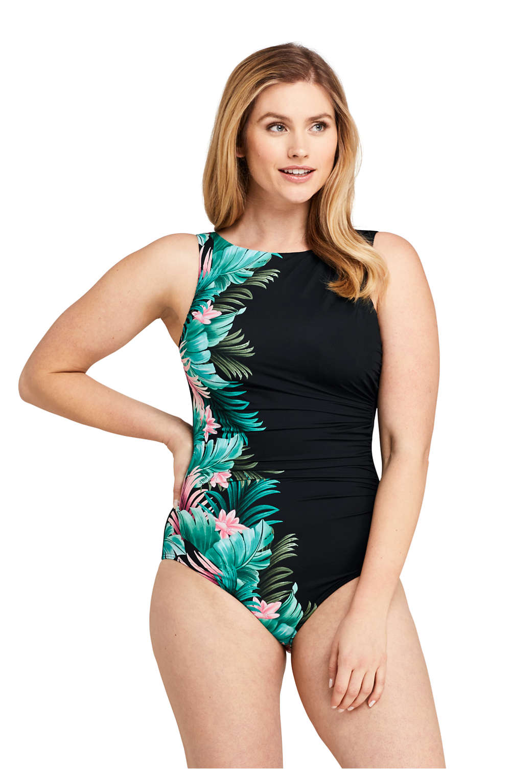 4bb12c25d34a0 Women's Slender High-neck One Piece Swimsuit with Tummy Control Print from  Lands' End