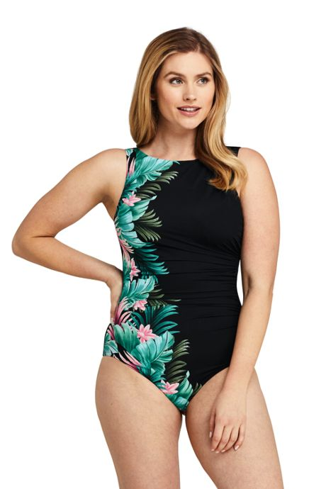 Women's Long Slender High-neck One Piece Swimsuit with Tummy Control Print