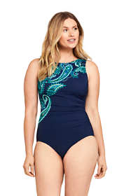 Women's DDD-Cup Slender Tummy Control Chlorine Resistant High Neck Modest One Piece Swimsuit Print
