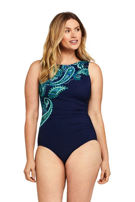 Women's DD-Cup Slender Tummy Control Chlorine Resistant High Neck Modest One Piece Swimsuit Print