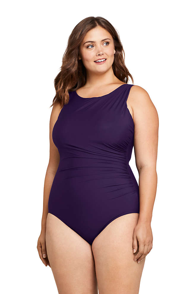 Women's Plus Size Slender Tummy Control Chlorine Resistant High Neck Modest One Piece Swimsuit, Front