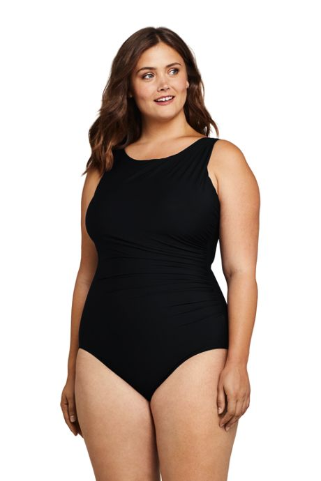 Women's Plus Size Slender Tummy Control Chlorine Resistant High Neck Modest One Piece Swimsuit