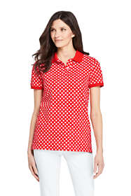 Women's Petite Print Mesh Cotton Polo Shirt Short Sleeve